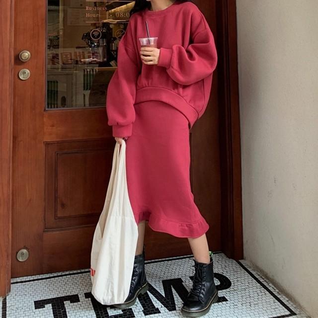 【セット】「単品注文」カジュアル長袖ラウンドネックプルオーバーパーカー+スカート34070028