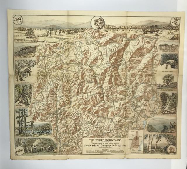 古地図  1937年 アメリカ ホワイトマウンテン ナショナルジオグラフィックマガジン