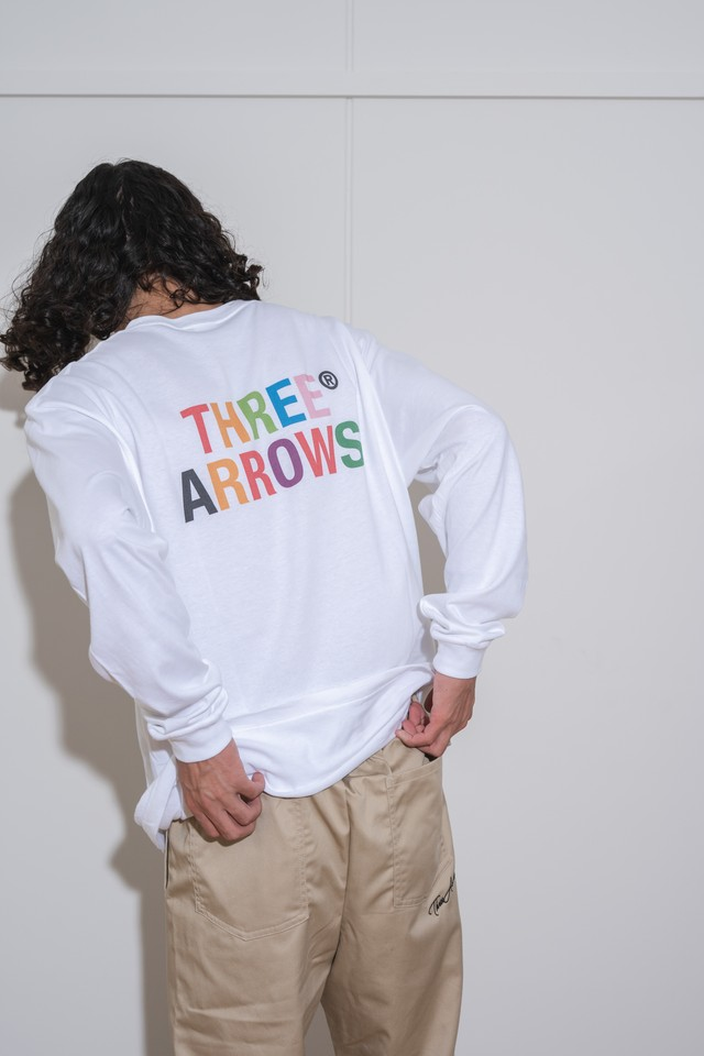 【9/8(WED)20:00販売開始】ThreeArrows Mulch LOGO L/S TEE (white)