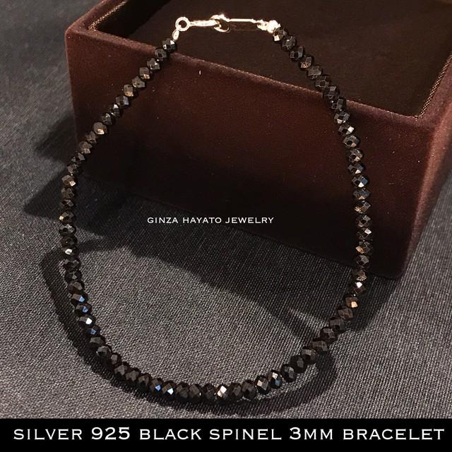 silver bracelet black spinel シルバー ブラックスピネル ブレスレット