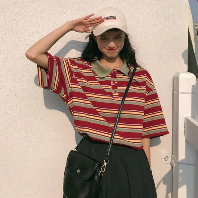 【送料無料】レトロコーデ♡メンズライク マルチボーダー ポロシャツ Tシャツ