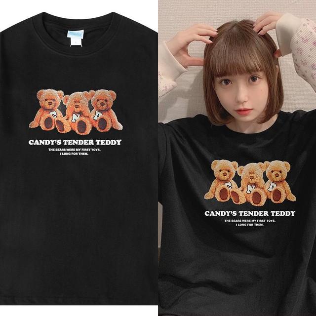 ユニセックス 半袖 Tシャツ メンズ レディース 英字 3匹のクマちゃん ぬいぐるみ プリント オーバーサイズ 大きいサイズ ルーズ ストリート TBN-615016398293