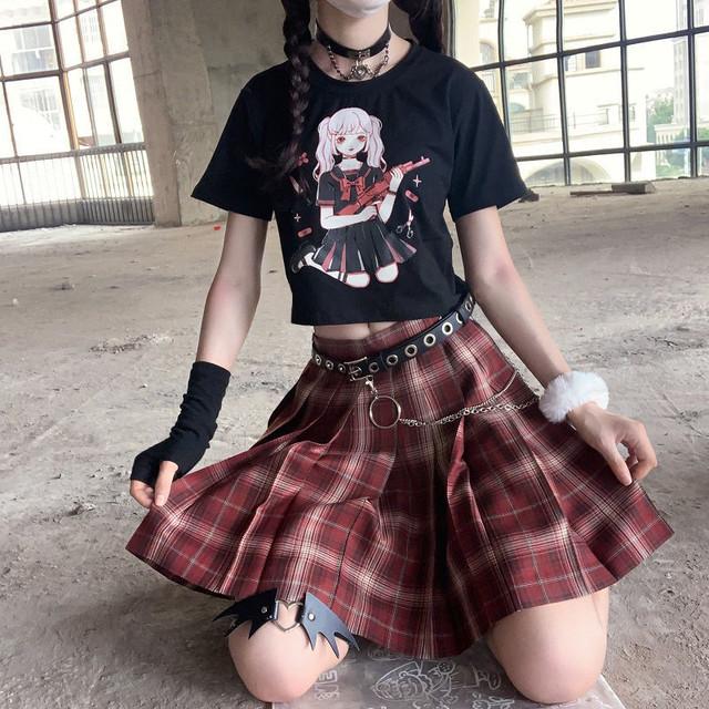 【トップス】半袖ショート丈/レギュラー丈キュートストリート系シンプルTシャツ46716196