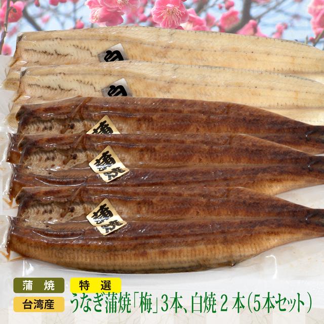 SALE特選 台湾産うなぎ蒲焼 (梅) 3、白焼 2 (5本セット)