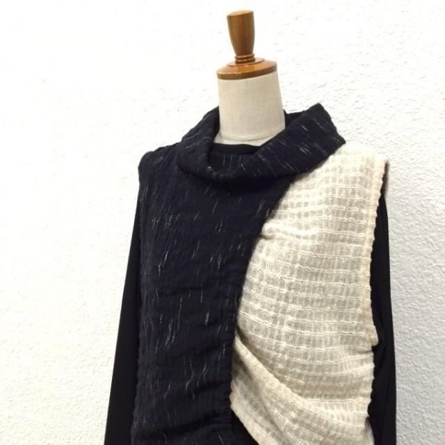 手織り生地デザインベスト ブラック/生成り