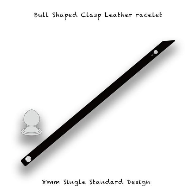 Bull Shaped Clasp Leather racelet / 8mm Single Standard Design
