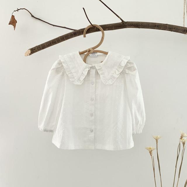 【春物予約・一部即納】ホワイト コットン ブラウス 2021SS 女の子 シャツ 子供服 春夏