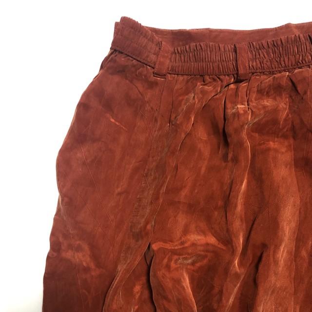 Terracotta fake suède long skirt