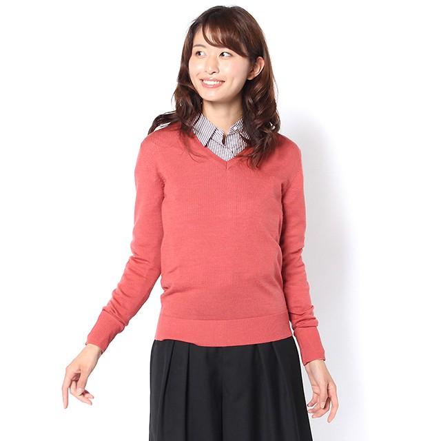 メリノウールVネックセーター (ピンク) 3075003_3735001