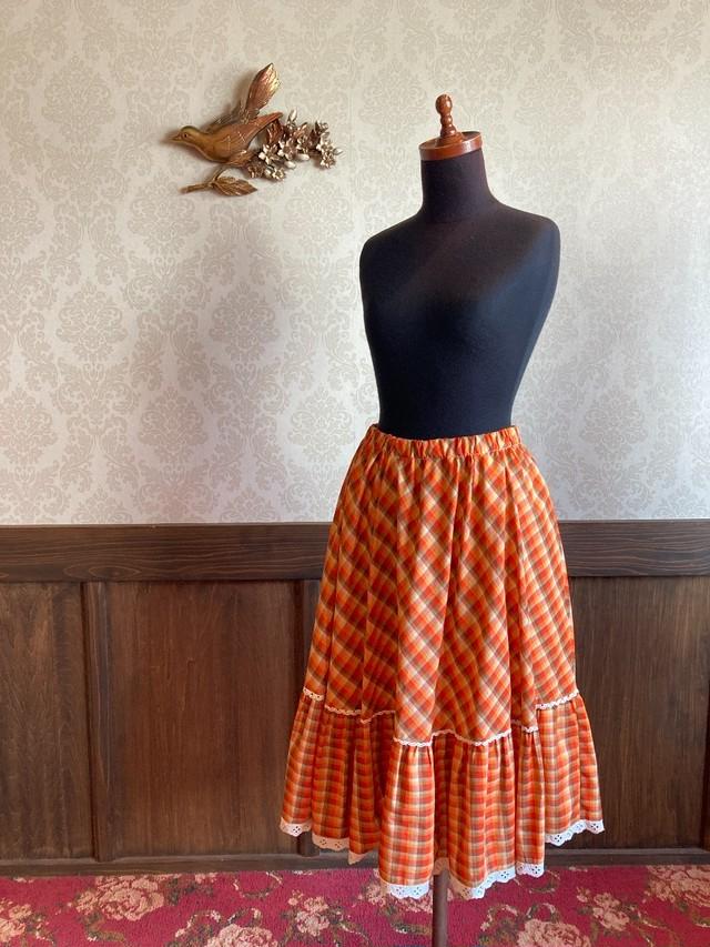オレンジ チェックフレアースカート