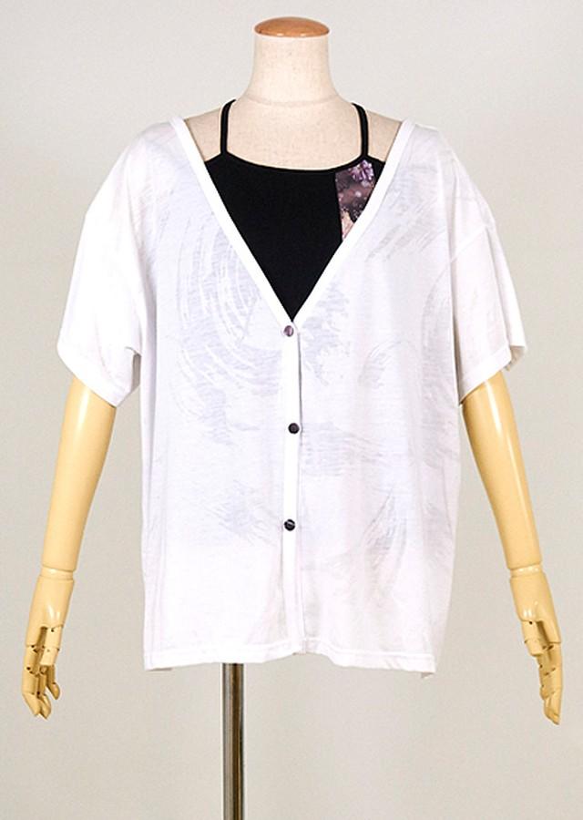 gouk 後ろがバッテンになったキャミソールと羽織のセット 白羽織x黒キャミ GGD28-U038 WH-BK/M