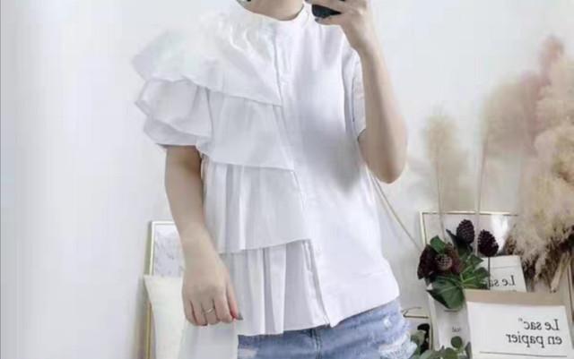【トップス】フリルシャツ&Tシャツ ドッキング 前ボタントップス・ホワイト