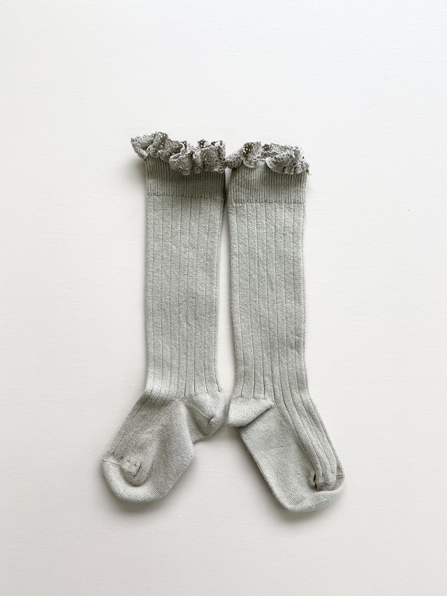 Collegien / Joséphine Lace-Trim Ribbed Knee-high Socks - Little Taupe