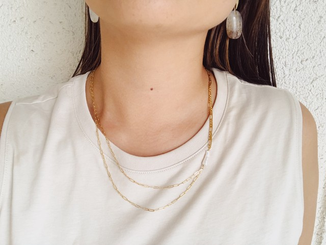 Tow Types Chain  Pearl  Necklace ツータイプチェーンパールネックレス