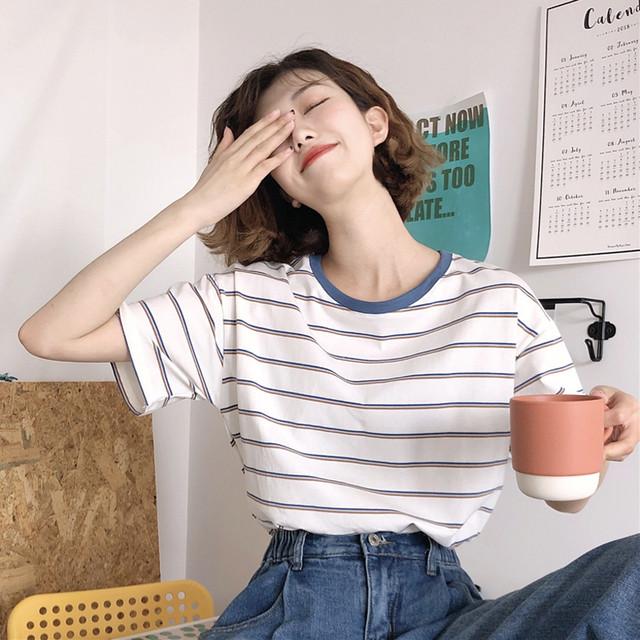 【送料無料】爽やかボーダーT♡Tシャツ ボーダー クルーネック 爽やか カジュアル 着まわし お家コーデ