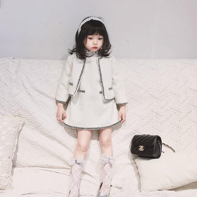 90〜130cm♡ ノーカラー ジャケット & ワンピース セットアップ / パイピング ツイード 子供服 キッズ 女の子 アウター お誕生日 パーティー