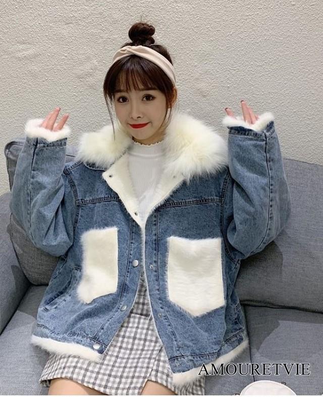 2019 秋 冬 レディース 新作 アウター ジャケット コート デニム ファー ホワイト グレー オルチャン 韓国ファッション 1024