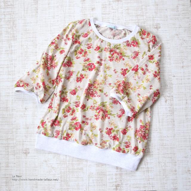【L】七分袖プルオーバー*カットソー ピンク花柄 パフスリーブ/Lafleur
