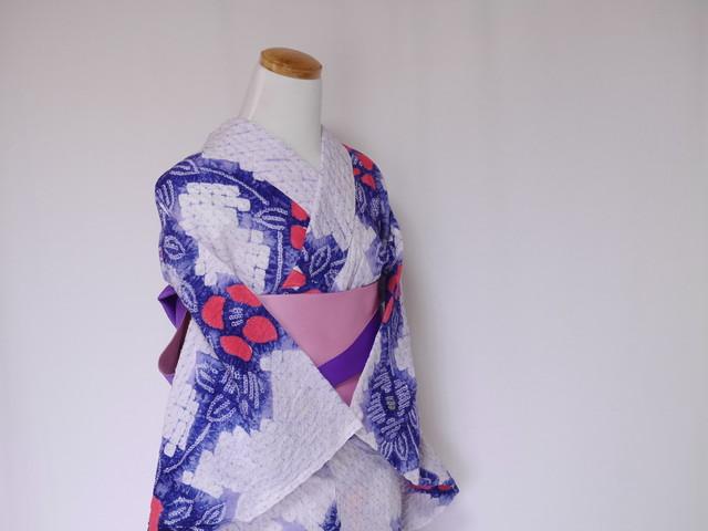 【M-55】 丈162 裄64 淡い紫 蜘蛛絞り 鹿の子絞りの花柄 絞り 浴衣 リサイクル