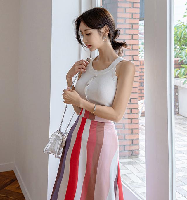 ストライプスカートとホワイトキャミのセットアップ★2020S/S