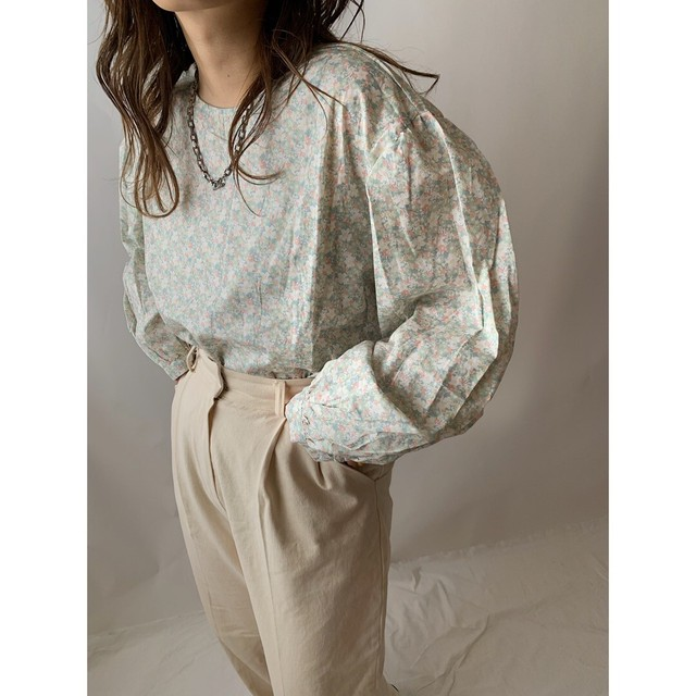 【asyu】mint puff sleeve  blouse