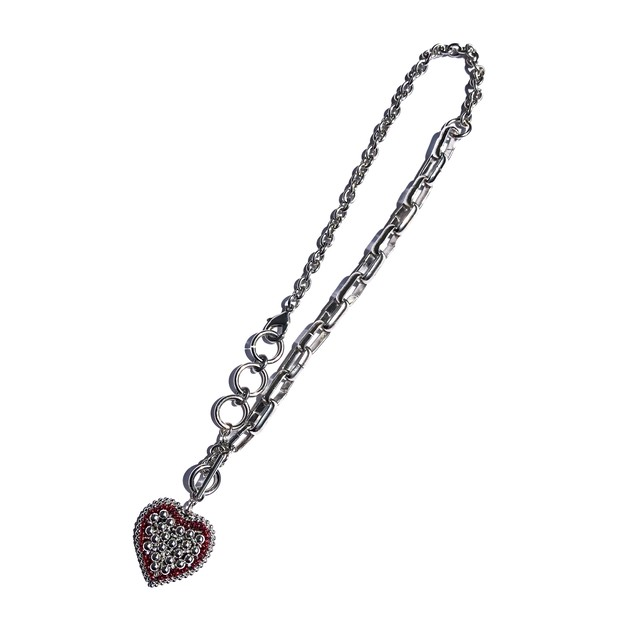 ◇VERT heart motif necklace ruby red /silver ◇チェーンネックレス◇