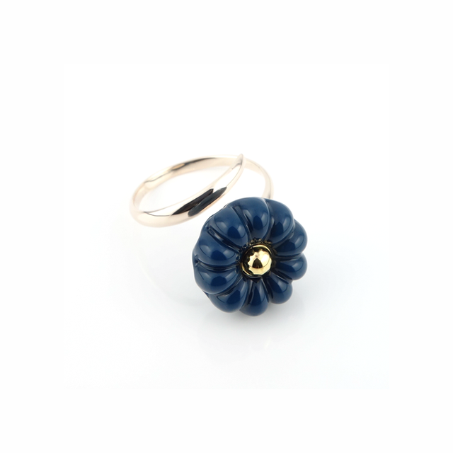 "K10_flower glass_ring ""deep sea blue"""