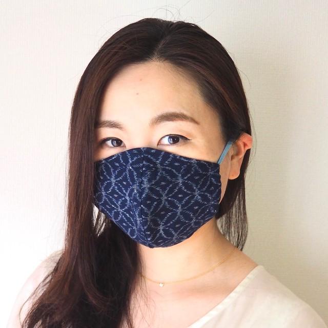 藍染め手織りかすり 4 層仕立て 快適サラサラマスク(七宝)