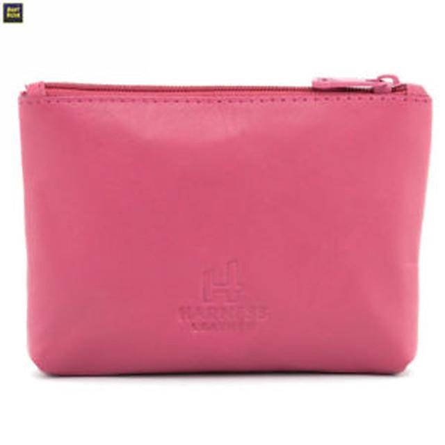 【送料無料】ハーネスレザージップトップコインアップリケピンクharness leather zip top coin purse with applique cat detail pink