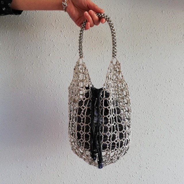 ne Quittez pas(SMALL BEADS BAG SILVER)