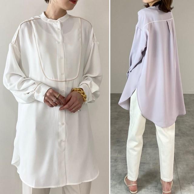 ◆即納◆パイピング デザイン ロングシャツ チュニック OP-t96