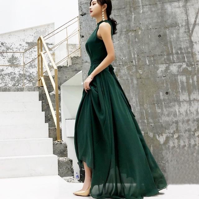 <即納>3色 アメリカンスリーブ リボン ロング ドレス
