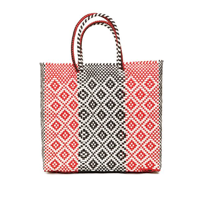 MERCADO BAG ROMBO STRIPE - Red × Black × White (M)