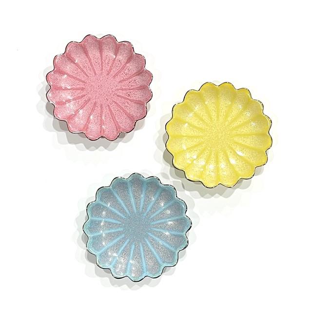 縁プラチナ  七宝菊型 お手塩皿