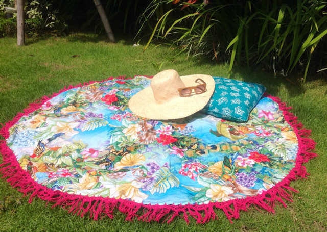 Round Beach Sarong with Pink Crochet
