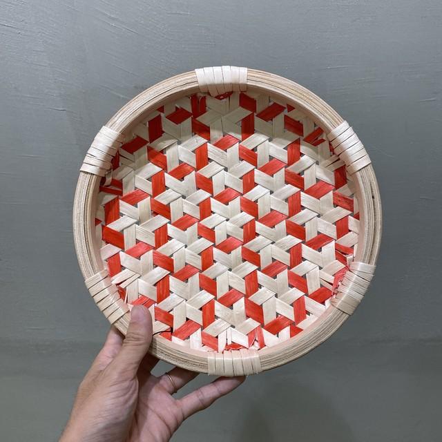 イタヤ細工 鉄線編み|盛皿|朱