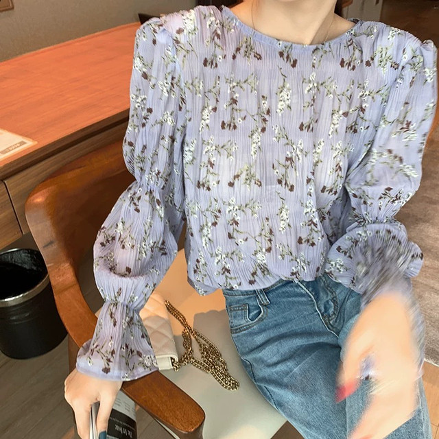 sick purple flower blouse