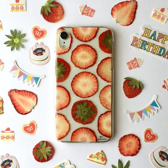 【iPhoneXRホワイト】ストロベリーショートケーキ 押し花スマホケース