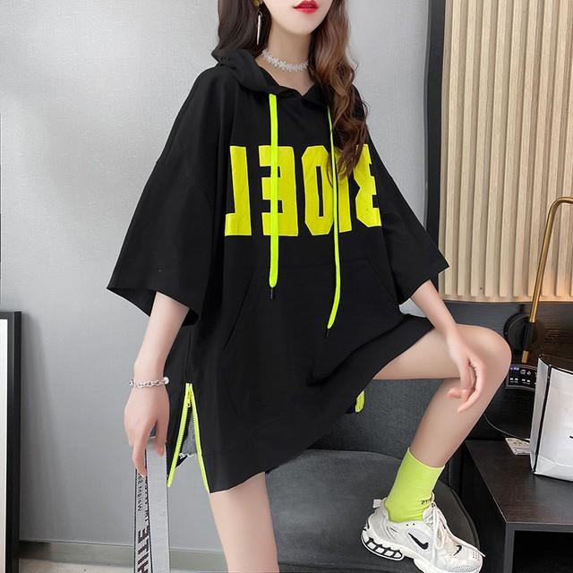 【トップス】韓国系半袖フード付きプルオーバーアルファベットTシャツ48097821