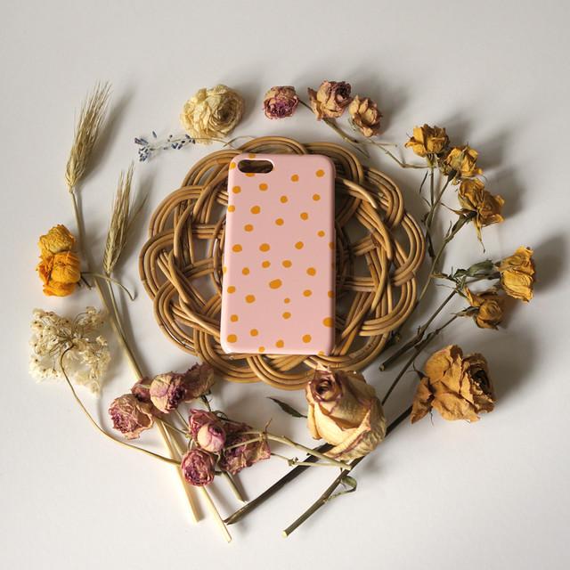 fuwa fuwa dot ( pink & mustard ) スマホケース - L サイズ 【受注生産】