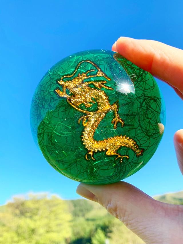 【龍神オルゴナイト】ドーム型オルゴナイト・297(8cm)~緑龍~
