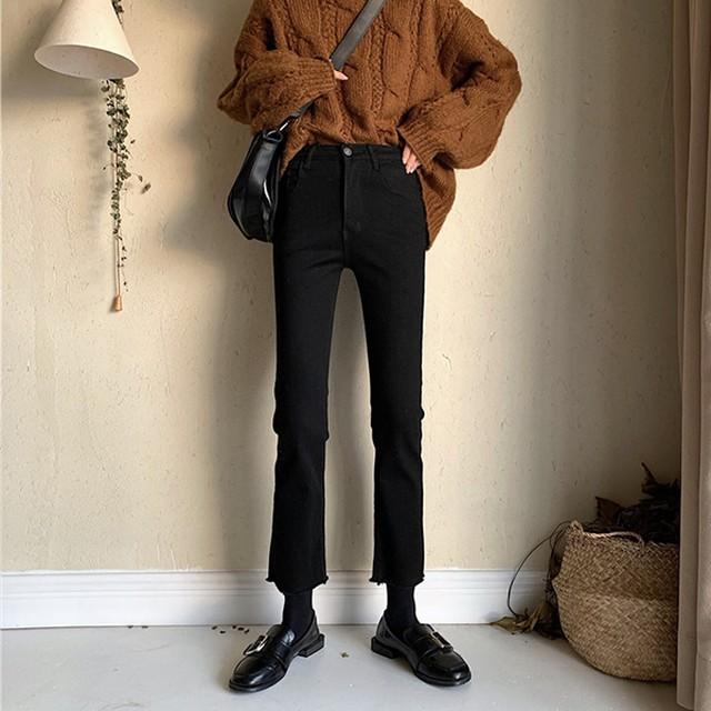 ブラックのブーツカットジーンズ【FS1861】