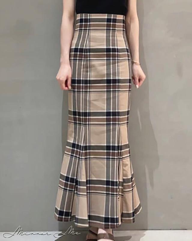 ブロックチェックサイドスリットマーメイドスカート 2色展開