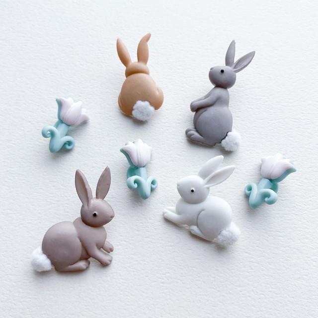 JJボタン ウサギとチューリップボタンパック
