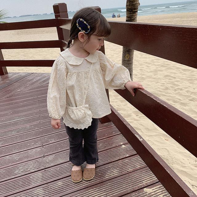 【即納】刺繍 レース ブラウス バッグ付き 春夏 2021SS 韓国子供服