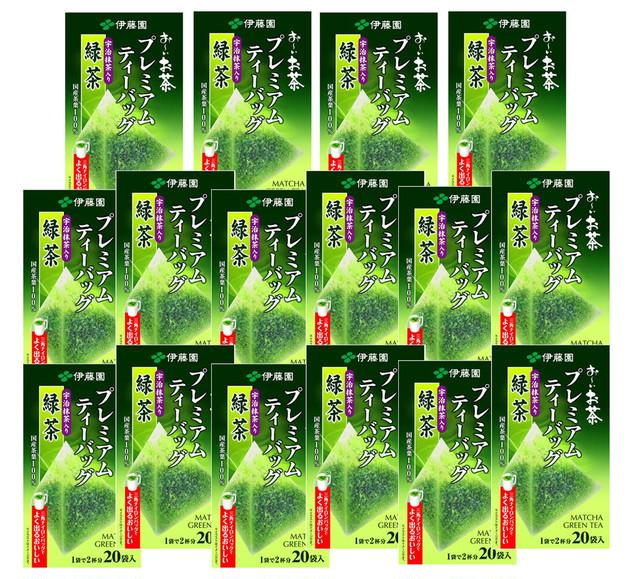 伊藤園 お〜いお茶 プレミアムティーバッグ 宇治抹茶入り緑茶 20袋×16箱(2ケース)