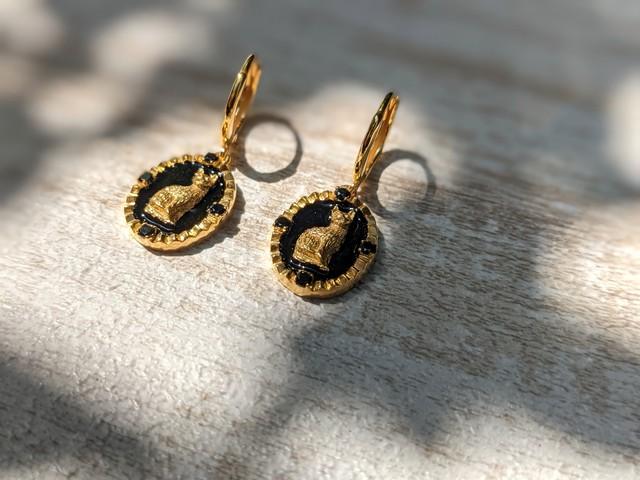 【goodafternine】 Cat oval earrings