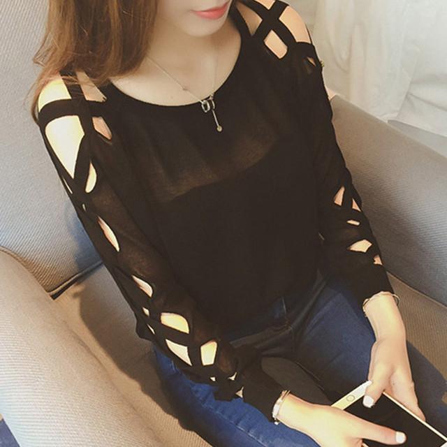 【トップス】デザイン性抜群セクシー透かし彫り長袖ラウンドネックTシャツ42201190