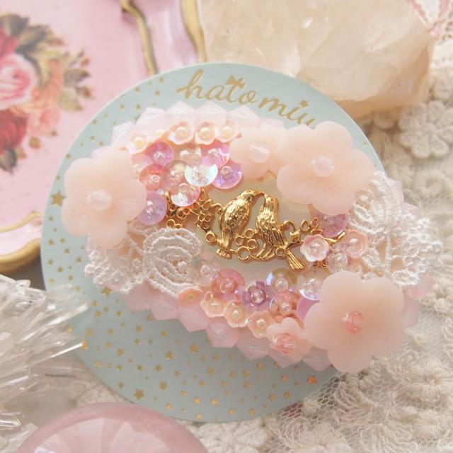 【3/7 22:00〜】小鳥と桜のヘアクリップ