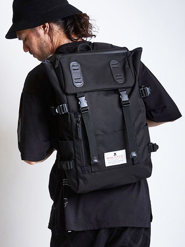DECOY & CO. (デコイアンドシーオー) MAKAVELIC x DECOY&CO. DOUBLE BELT DAYPACK / BLACK D93700-05